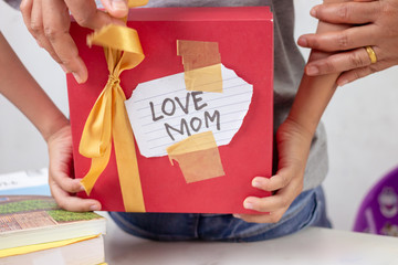 The boy hides a gift box for his mother on the back of his own.