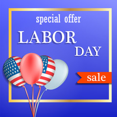 Labor day sale concept background. Realistic illustration of labor day sale vector concept background for web design