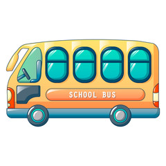 Small city school bus icon. Cartoon of small city school bus vector icon for web design isolated on white background