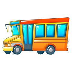 Retro kid school bus icon. Cartoon of retro kid school bus vector icon for web design isolated on white background