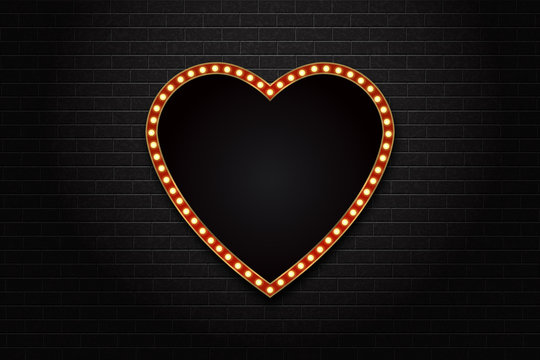 Vector realistic isolated retro heart neon marquee billboard for decoration and covering on the wall background. Concept of cinema and broadway.