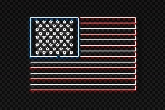 Vector realistic isolated neon sign of USA flag logo for decoration and covering on the transparent background.