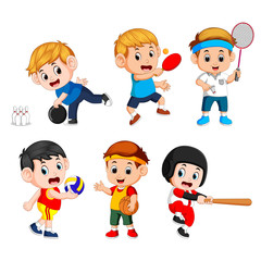 Team sports for kids including Basketball, Baseball, Bowling, volleyball, badminton, table tennis
