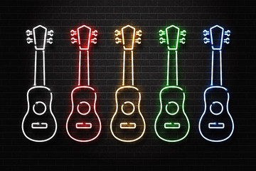 Vector set of realistic isolated neon sign of ukulele logo with different color for decoration and covering on the wall background. Concept of live music.