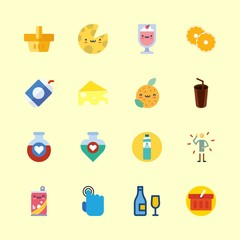 16 drink icons set