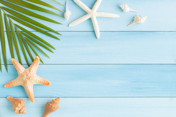 Flat lay photo saeshell and starfish on blue wood table, top view and copy space for montage your product, summer concept