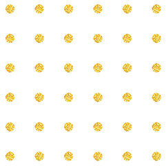 Gold glitter polka dots seamless pattern.