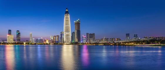 Shenzhen night scenery panorama / Nanshan District Houhai CBD