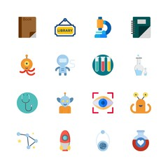 science vector icons set. orbit, test tubes, microscope and rocket in this set