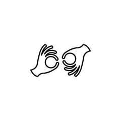 sign language icon. Element of disabled icon for mobile concept and web apps. Thin line sign language icon can be used for web and mobile