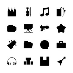 music vector icons set. favorite, radio, electric guitar and musical note in this set