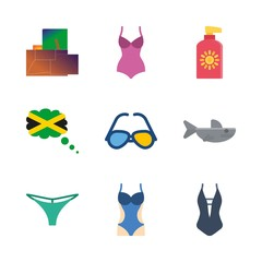9 beach icons set