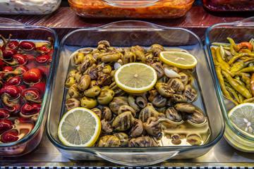 Grilled brine green olives