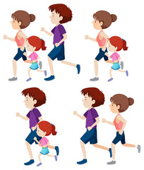 set of people running