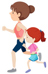 Mother and daughter running