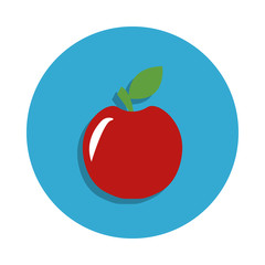 Apple colored in blue badge icon. Element of school icon for mobile concept and web apps. Detailed apple icon can be used for web and mobile