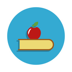 apple and book colored in blue badge icon. Element of school icon for mobile concept and web apps. Detailed apple and book icon can be used for web and mobile