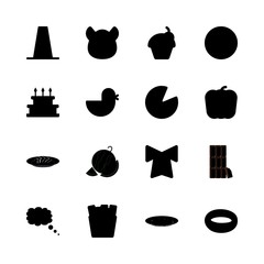 eat vector icons set. french fries, cheese, hungery and watermelon in this set