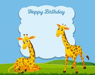 Giraffe on happy bithday card template