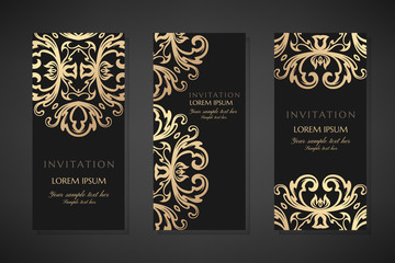 Invitation templates. Cover design with gold ornaments and black background. Vector decorative vertical flayers with copy space.