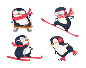 active penguins in winter