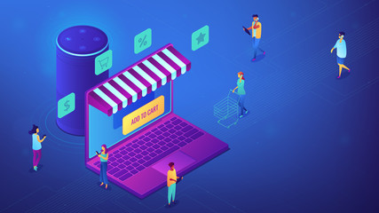 Isometric customers shopping online, laptop screen and smart speaker illustration. Mobile shopping and marketing, e-commerce concept. Blue violet background. Vector 3d isometric illustration.