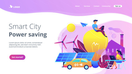 People around huge lamp analyzing power data. Smart city and power saving landing page. Renewable energy, smart grid energy, system modelling, violet palette. Vector illustration on white background.