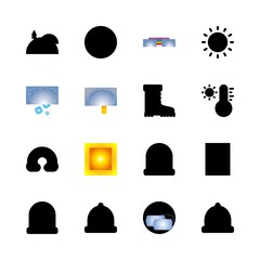 weather vector icons set. sun, lightning, boots and thermometer in this set