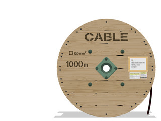Isolated wooden cable roll o transparent background
