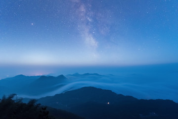 starry sky at the mountains top