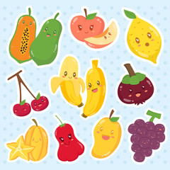 Set of cute fruits sticker cartoon vector with happy faces.