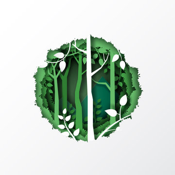 Nature concept with paper cut of green leaf and forest silhouette landscape abstract background.Paper art style vector illustration.