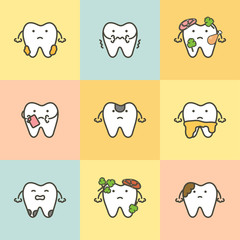 set of dental care, element for tooth concept ( caries, plaque, toothache, dirty ) - teeth cartoon vector flat style