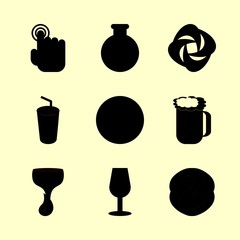 drink vector icons set. shopping basket, water filther logo, wine house logo and hot chocolate in this set