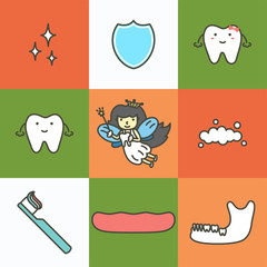 set of dental care, element for tooth concept ( fairy, shield, mandible, gum ) - teeth cartoon vector flat style