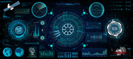 Head-Up Interface set for GUI, UI, UX design. HUD style, Technology elements set (space, dashboard, hologram, spaceship, medicine, finance, analytics)  View from the cockpit spaceship HUD UI style