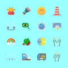 16 summer icons set