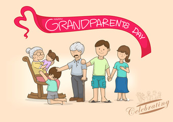 cartoon grandparents and family with love,multi colour,bright background colour