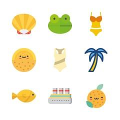 9 tropical icons set