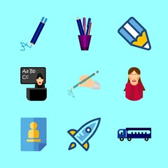 school vector icons set. pencil case, school bus, student girl and curriculum in this set