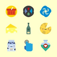 drink vector icons set. water filther logo, tap, wine bottle and cheese in this set