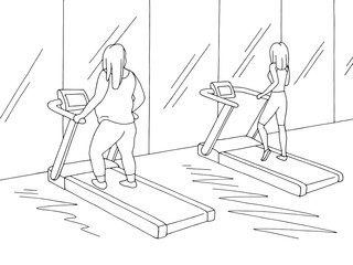 Gym interior graphic black white sketch illustration vector. Fat and thin women are workout on a treadmill