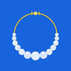 pearl necklace, jewelry related icon, flat design