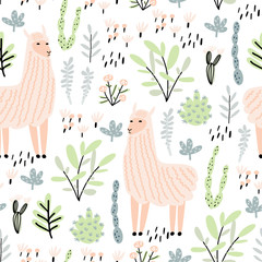 Seamless pattern with llama, cactus and hand drawn elements. Great for fabric, textile. Vector illustration. Creative childdish texture.