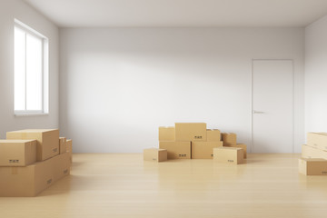 Empty room full of cardboard boxes to move into a new house. 3d rendering