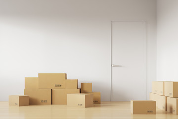 Cardboard boxes near the door, the day of moving to a new house. 3d rendering
