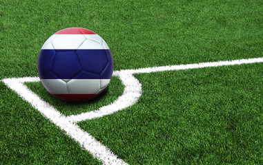 soccer ball on a green field, flag of Costa Rica