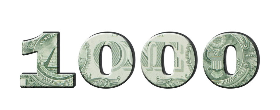1000 Number. American dollar banknotes. Money texture. Isolated on white background