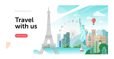 Vector illustration of landmarks from around the world: Statue of Liberty in America, Paris Eiffel Tower, picture for travel images