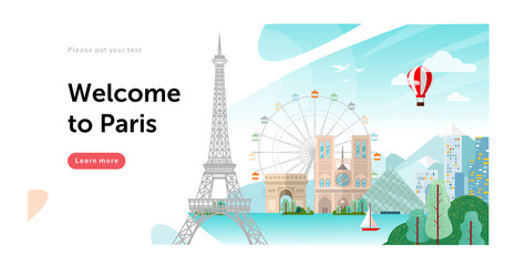 Welcome to Paris in France! Vector flat illustration of a city with landmarks: Eiffel Tower, Louvre, Notre Dame de Paris, cityscape